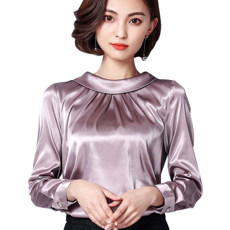 db6e8b3d887e5 Women Blouses Casual Silk Blouse Loose Long Sleeve OL Work Wear Blusas  Feminina Tops Shirts Plus
