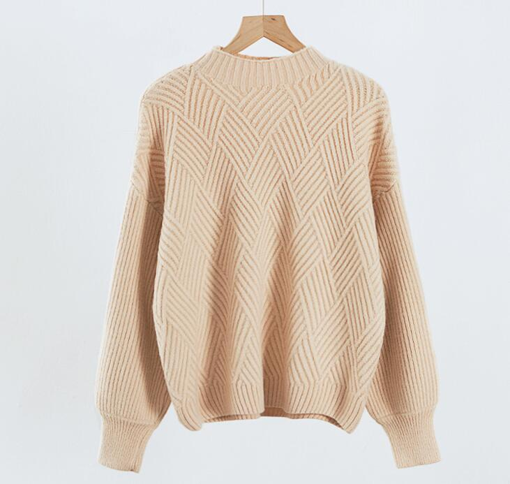 2019 Women Cute Lantern Sleeves Knit Sweaters Winter Warm Comfy Oversize  Knitted Jumper for Women Beige de3c5d6d6