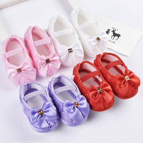 Infants Baby Girl Soft Crib Shoes Moccasin Prewalker Sole Shoes Baby Crib  Solid Lace Patchwork Bowknot Decarated Shoes