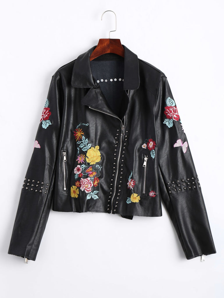 Wipalo Black Rivet Pu Leather Jacket Women Floral Embroidered Jacket