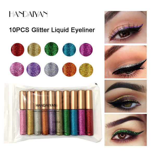 HANDAIYAN 10 pcs/set Shiny Eye Liners Cosmetics for Women Pigment Silver Rose Gold Color Liquid Glitter Eyeliner Cheap Makeup