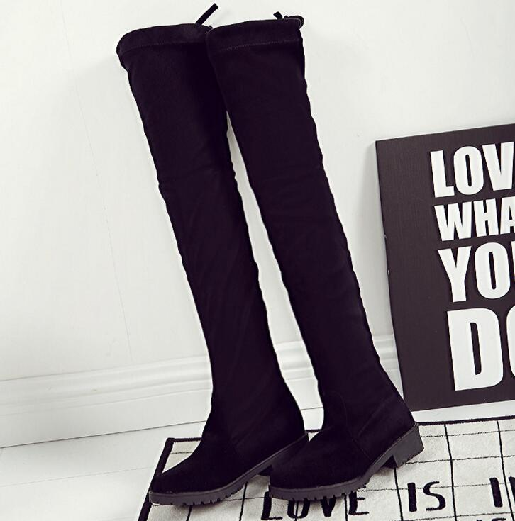 fc691e06dfa EFFGT Women shoes New Over The Knee Thigh High Black Boots Women Motorcycle  Flats Long Boots