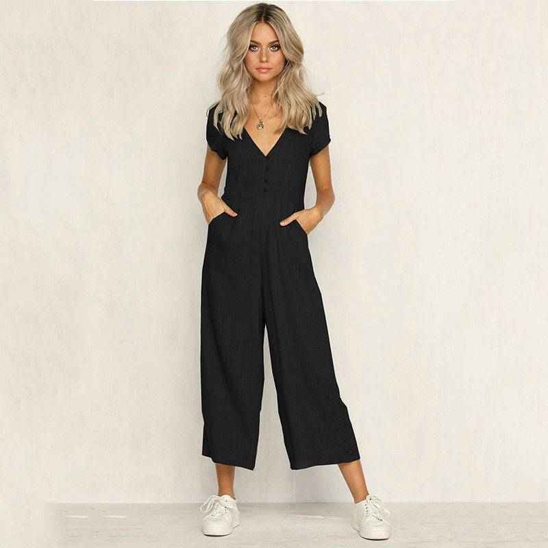 ed2c929145e3 Sexy V Neck Short Sleeve Black Casual Jumpsuit Women Fashion Button Ju