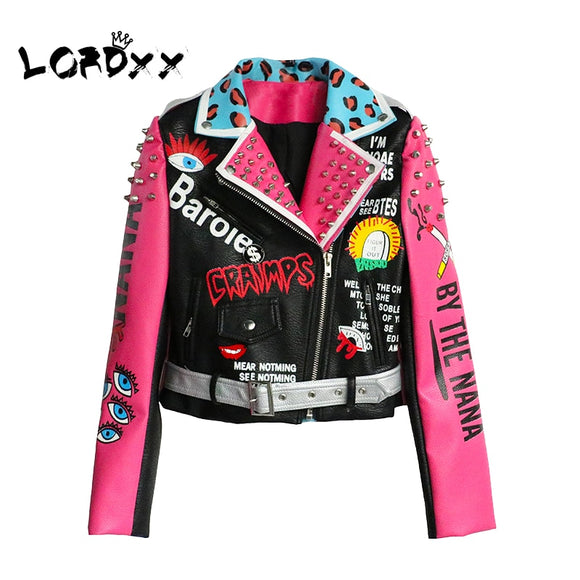 LORDXX Leather Jacket Women Streetwear Club Punk 2018 Autumn Fashion Cropped Jacket With Belt Multicolor Motorcycle Coats