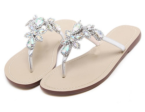 7f054c0ce1a5f3 Eilyken Leisure Woman Sandals Slippers Shoes Rhine stones Crystal Chains  Gladiator Flat Sandals Plus Size 35