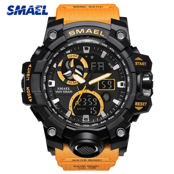 SMAEL Men Watches Outdoor Sports Wristwatches Men's Fashion Quartz Multifunction Watch 1545 S SHOCK Dual Display Wristwatches