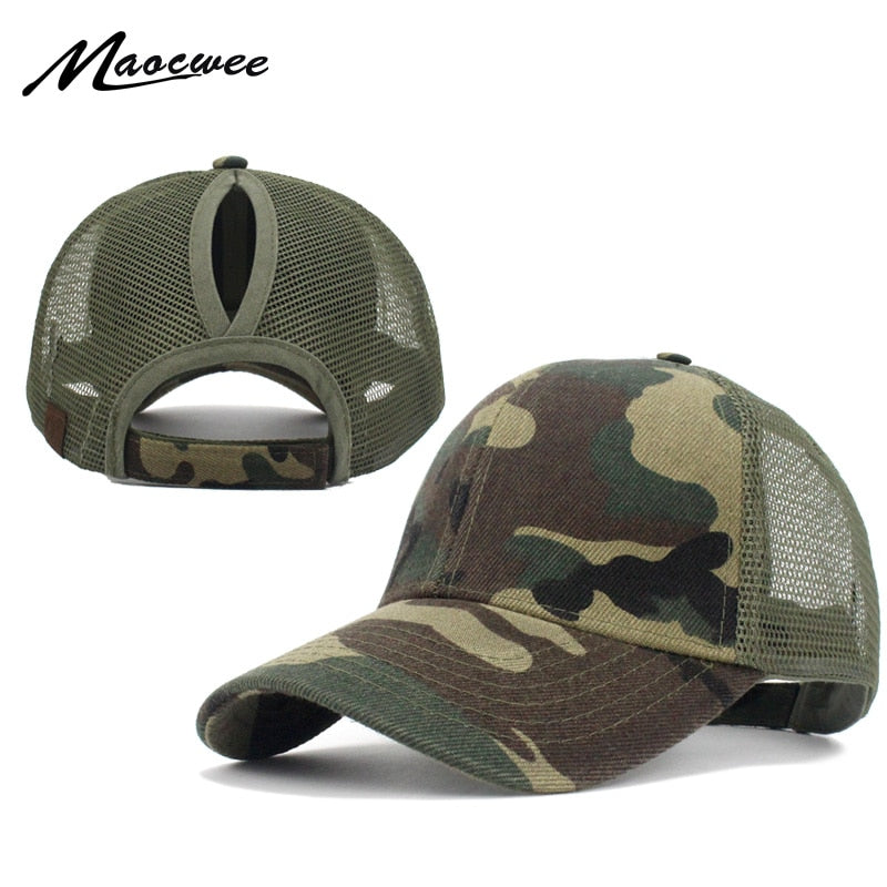 9f72fcc57a0 Ponytail Baseball Cap Women Messy Bun Baseball Hat Snapback Camouflage Mesh  Cap Spring and Summer Camo