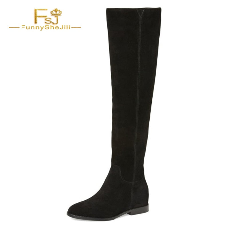 e57d5f0e428 Woman Shoes Black Long Boots Flat Knee-high Boots for Women Flock Round Toe  Zipper. Hover to zoom