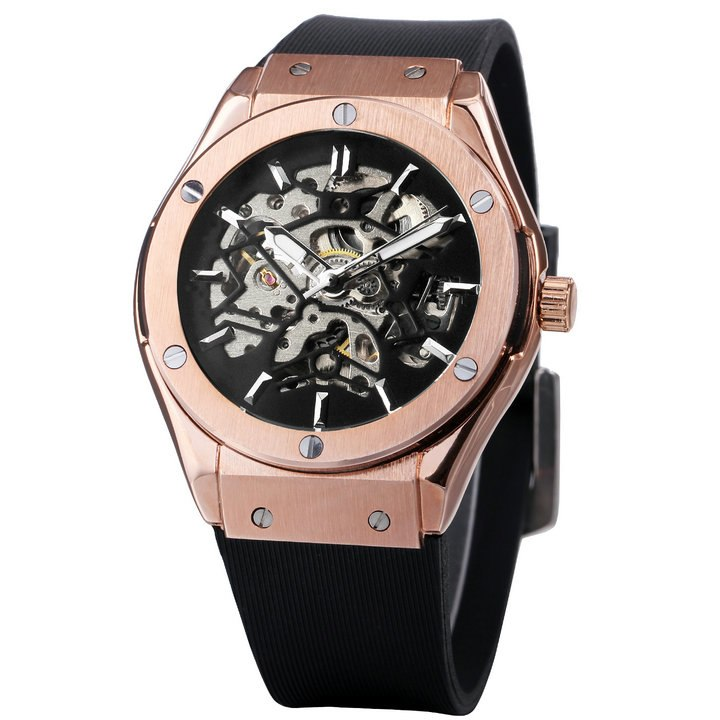 2c842b1d041 Stainless Steel WINNER Men Empire Fashion Military Mechanical Wristwatch  Rubber Strap Skeleton Dial Automatic Movement Luxury