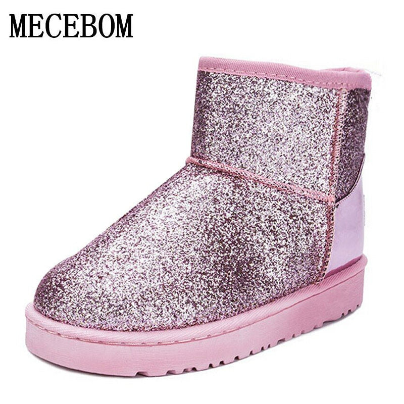 2018 Bling Glitter Snow Boots Women Thick Fur Warm Flat Platform Cotton  Sequined Cloth Ankle Boots 8cf2b73b17e1