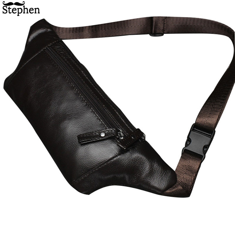 16153cecd9 Genuine Leather Men s Waist Packs male Fanny Pack Belt Bag Phone Pouch Bags  Travel Waist Pack