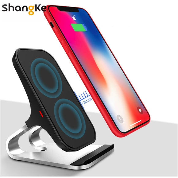 Qi Wireless Charger For iPhone XS XR X 8 8Plus 10W Wireless Fast Charger Stand Phone Holder For SamsungS9 S8 S7 S6 Edge Note 8