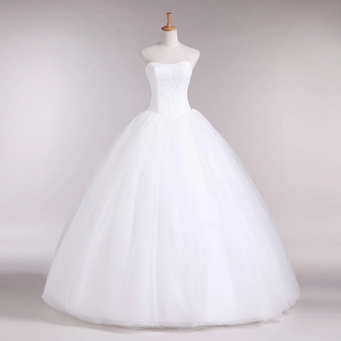 Fashion Simple Classic Ball Gown Off White Wedding Dress Lace Up Sweet
