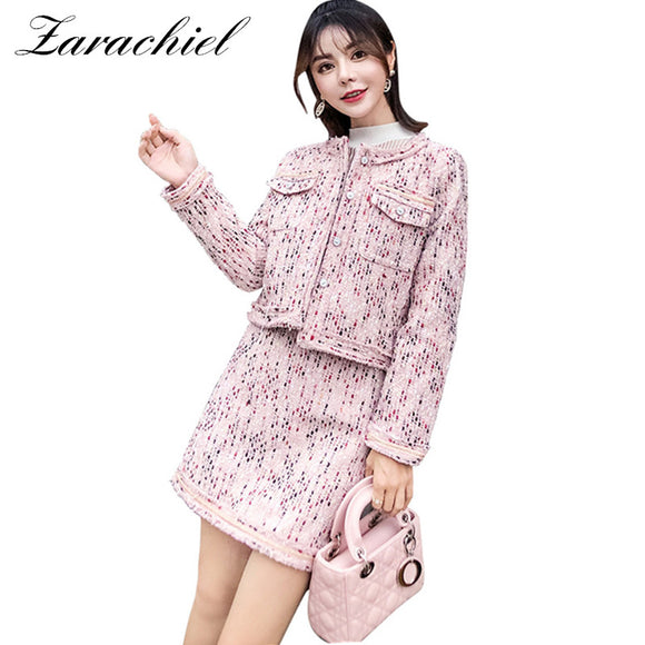 2018 Winter Runway Pink Tweed Suit Set Vestidos Women Single Breasted Short Jacket Coat + Mini Pencil Skirt 2 Pcs Set Outfits