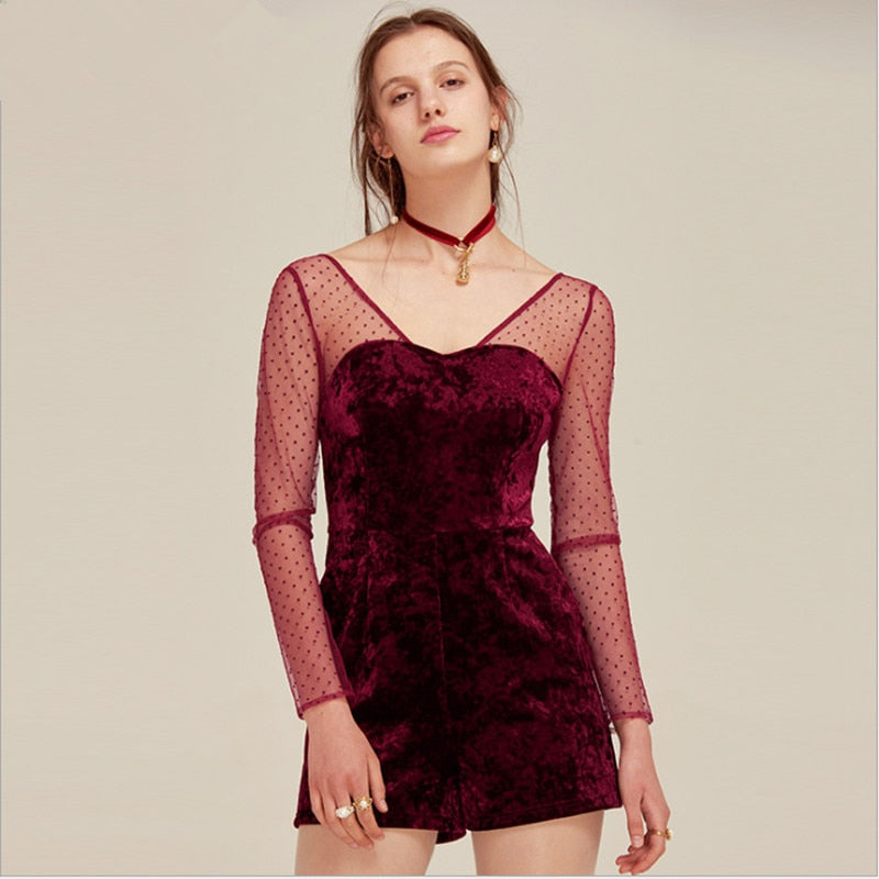 8842708bb1c1 Sexy women jumpsuits   rompers elegant red velvet playsuits with dot lace  top jumpers European and. Hover to zoom ...