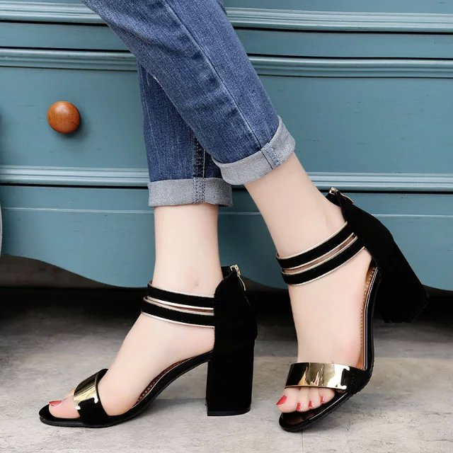 d4cff5fafe4216 Ladies Ankle-Wrap Shoes 2018 Summer Gladiator Sandals Women Square heel  Sandals Party Wedding Shoes