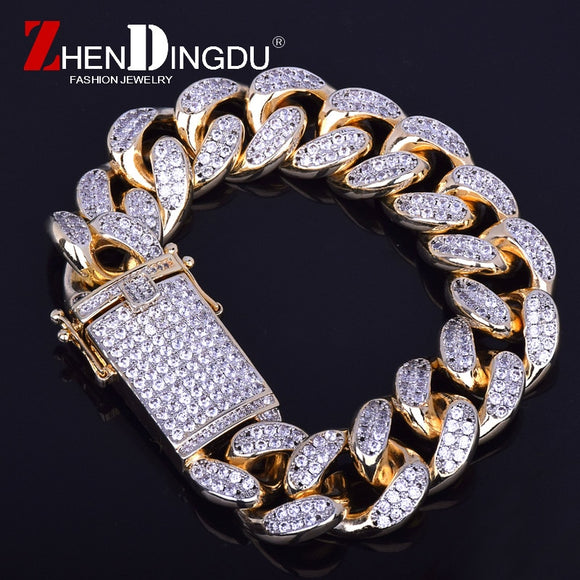 20mm Men's Chunky Iced Zircon Miami Cuban Link Bracelet Bling Hip hop Jewelry Gold Silver AAA CZ Cuban Chain Bracelet 20cm