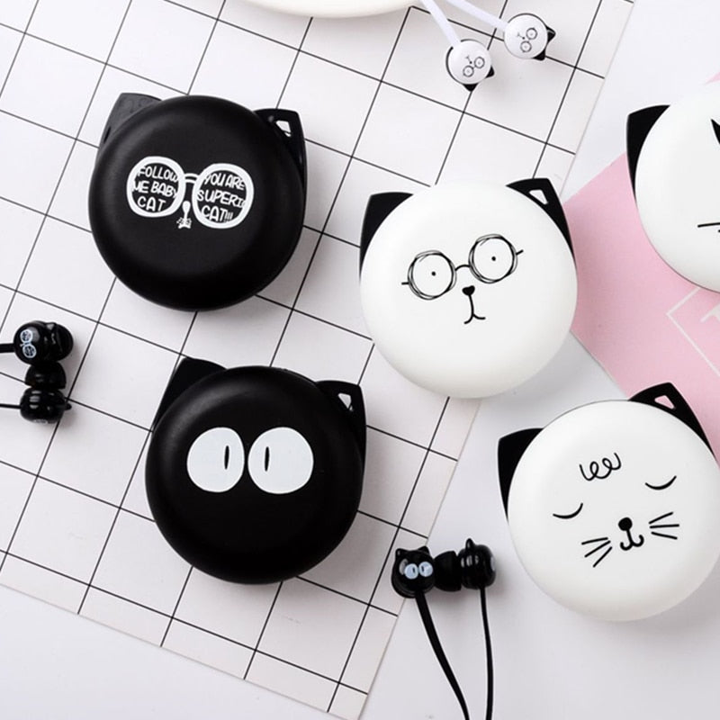 In-ear Earphones 3.5mm Cute Facial Expression Cartoon Cat With Mic Music Earplugs With Storage Box For Phone Xiaomi Girls Gifts Phone Earphones & Headphones Consumer Electronics