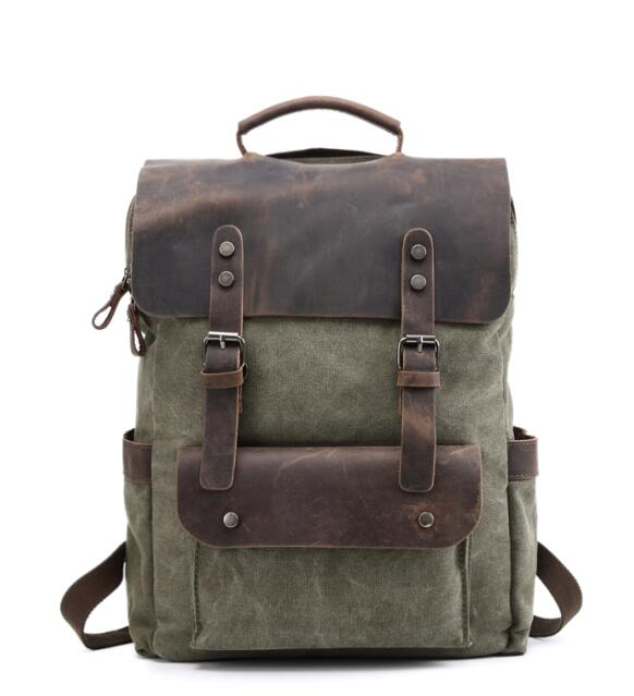 YUPINXUAN Vintage Canvas Leather Backpacks for Men 14