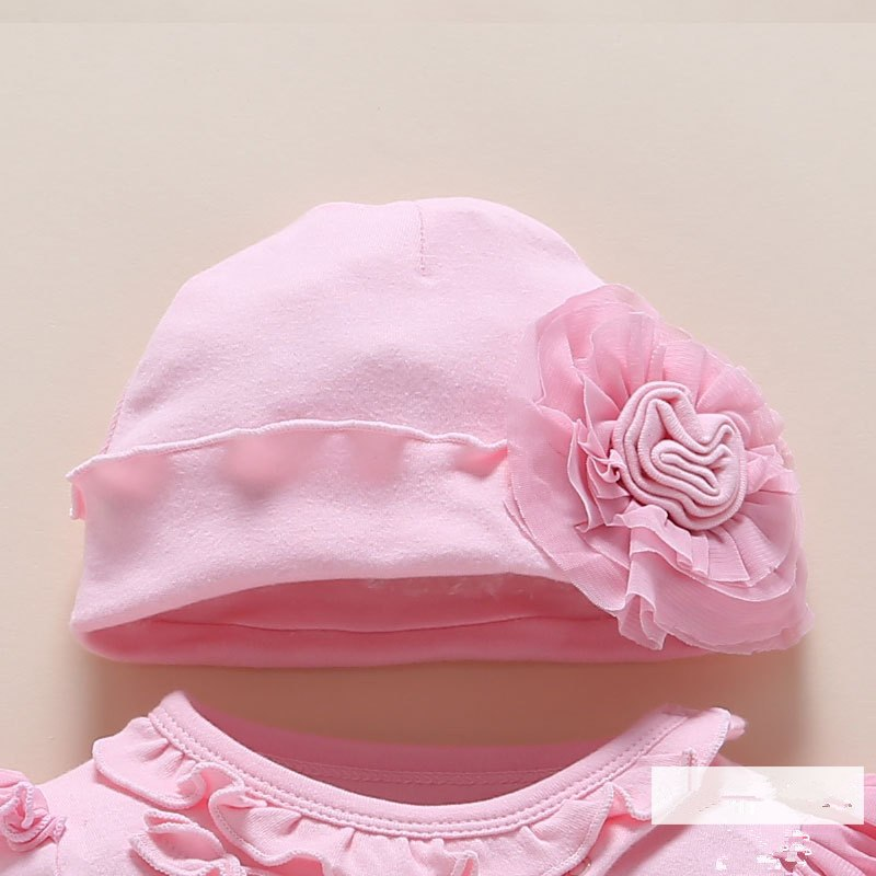 cd63592dd647 Newborn Baby Romper Headband Floral Girls Clothing Sets 0-12 Month Infant  Jumpsuit Spring Winter Cute Baby Clothes Cotton White