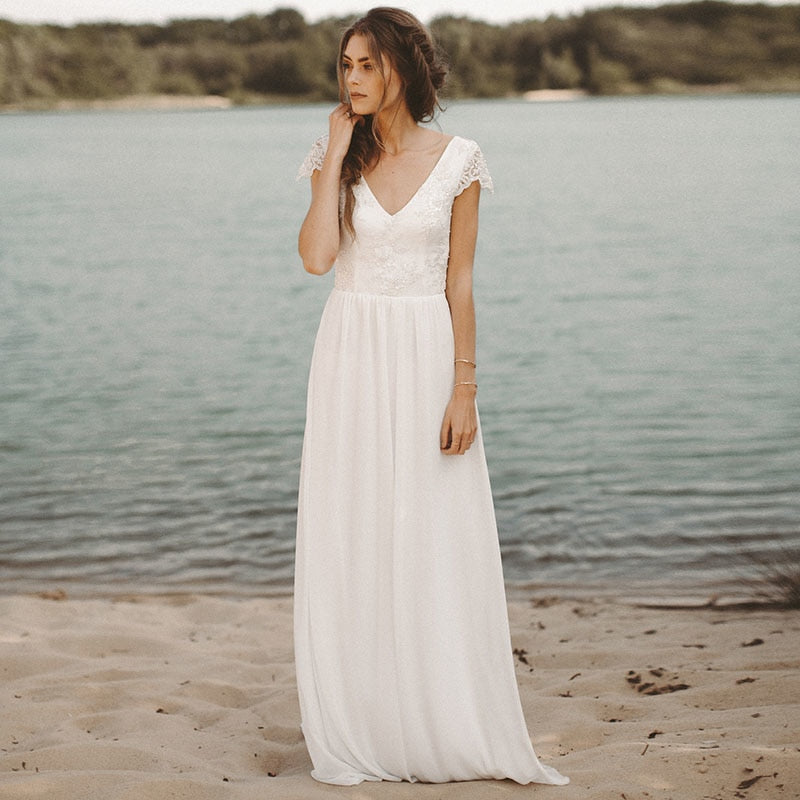 f16c9c28849d LORIE Beach Wedding Dress V Neck Cap Sleeve A-Line Chiffon Skirt Lace top  Open. Hover to zoom ...