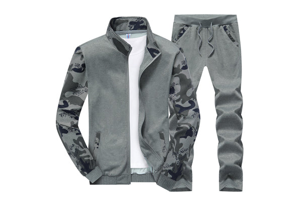 bdc433ee65ac ... PUZA Men s tracksuit fashion casual sportswear fashion slim young mens  Sportwear Suit hooded camouflage sweater suit ...