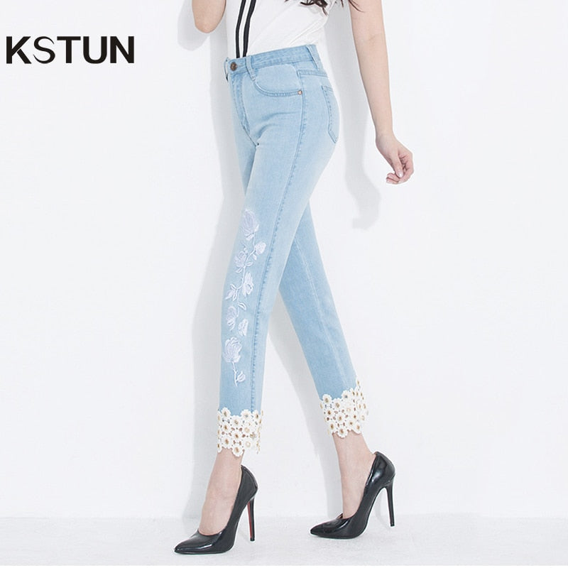 b7493d9b9a66 KSTUN jeans woman high waisted stretch straight slim fit jeans vintage push  up sexy ladies jean