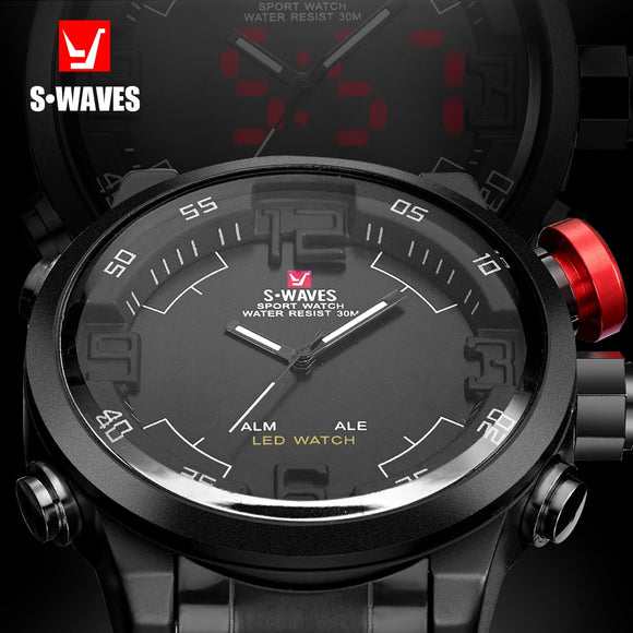SWAVES Brand Dual Display Watch Quartz Men Waches Sport Waterproof LED Digital Wristwatches Steel Band Clock Relogio Masculino
