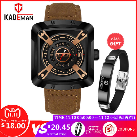 KADEMAN Men Watches Top Brand Waterproof Military Sport Watches Quality Leather Band Fashion Male Wristwatches Relogio Masculino