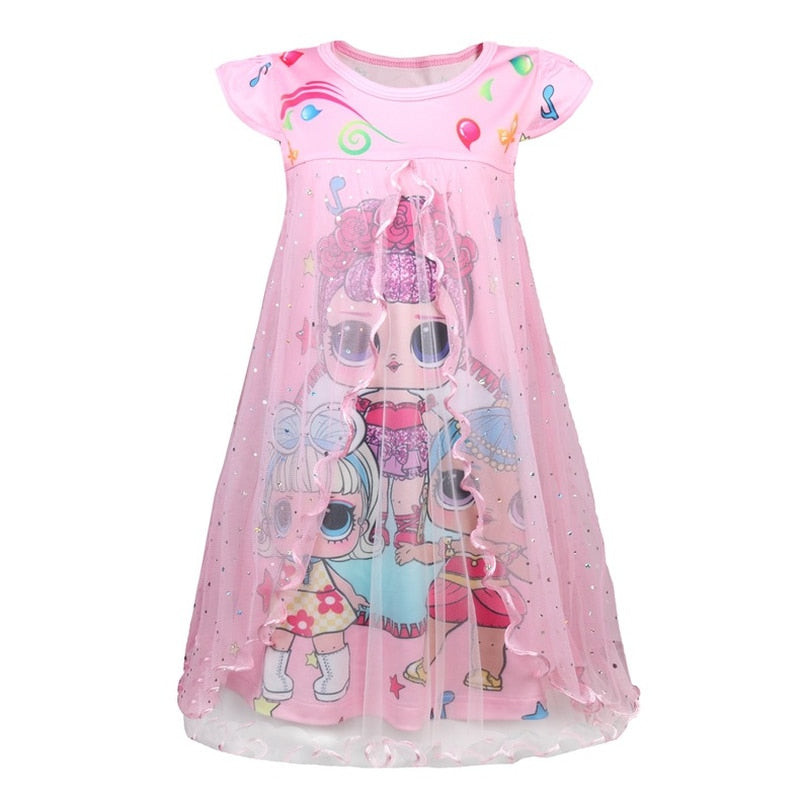 9445492d2113 Kids Dresses for Girls New Summer Lol Dolls Dress Cute Short Sleeve Dresses  Party Holiday Children
