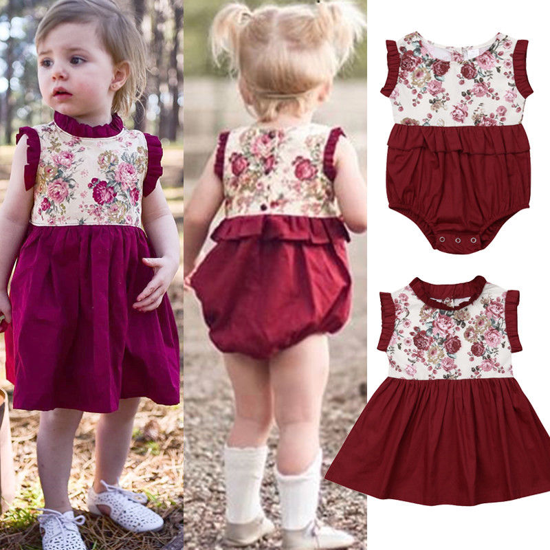 7f492b3de8e6 Fashion Newborn Kids Baby Girl Sister Matching Floral Jumpsuit Romper Dress  Outfits Set