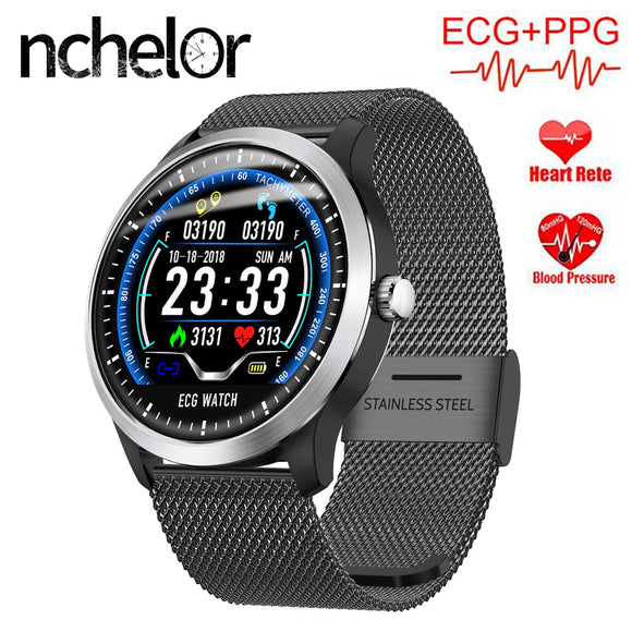 N58 ECG PPG Smart Watch for Men Women with Heart Rate Blood Pressure Monitor Pedometer Fitness Tracker Fashion Waterproof Watch