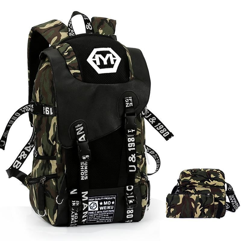 46bf47827a6 Backpack Sets Large Camouflage Backpack Men Graffiti Canvas School Bags  Large Capacity Back Pack Military Mochila