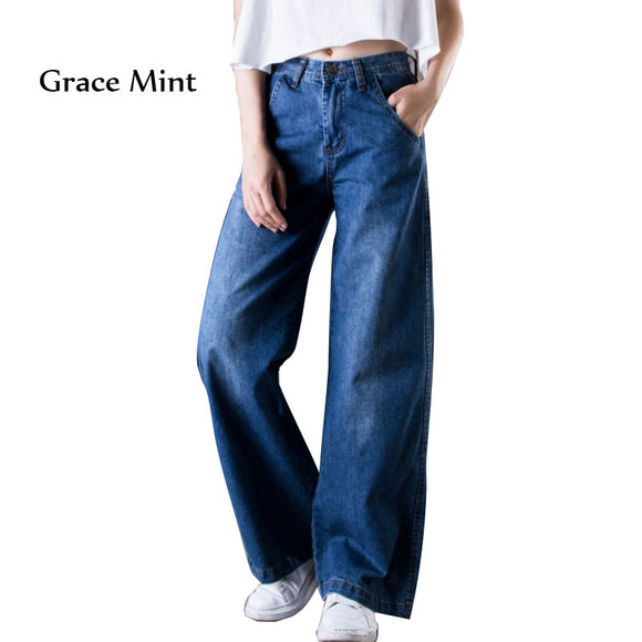 Plus Size Casual Jeans Wide Leg Pants High Waist Vintage Trousers Solid Color Loose Jeans for Women