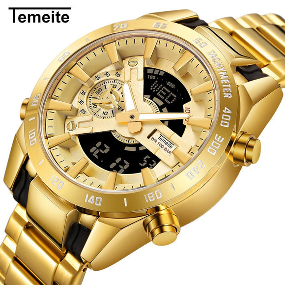 Temeite Golden Watches Men Luxury Brand Dual Display Men's Sport Digital Watch Luminous Quartz Clock Male Relogio Masculino