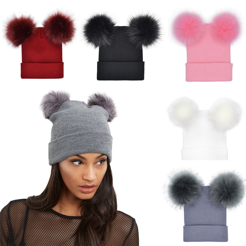 040f93dd4af 2018 New Arrival New Fashion Women Winter Warm Crochet Knit Double Faux Fur  Pom Pom Beanie. Hover to zoom ...