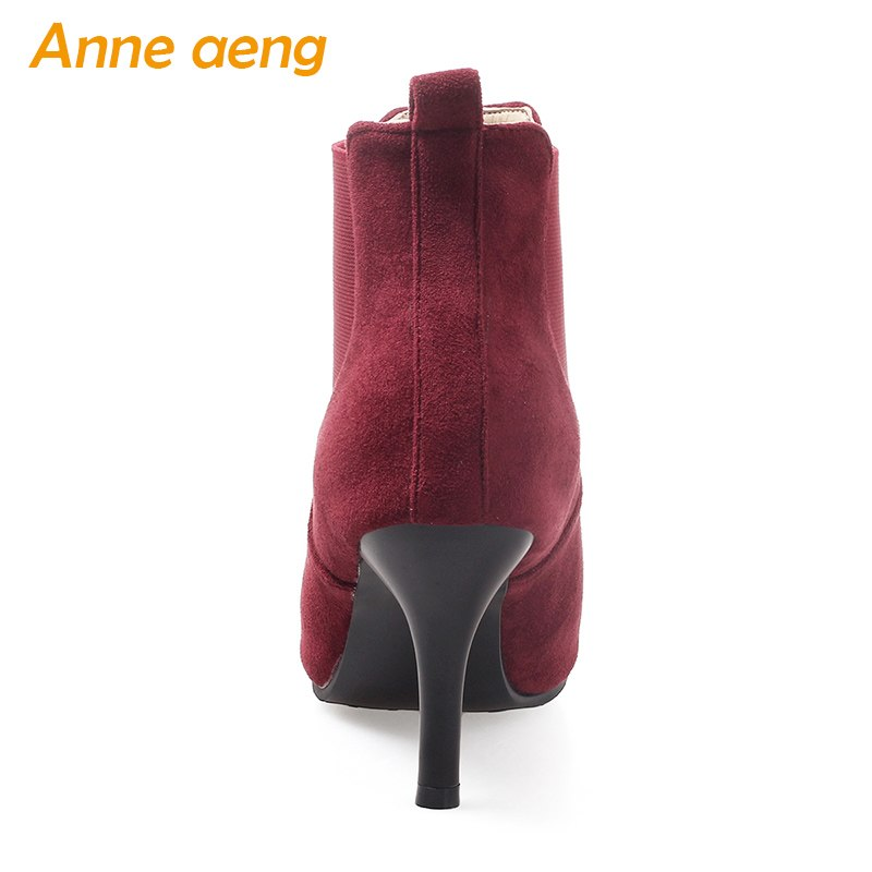 d2c16017db8 Autumn winter women boots high thin heels ladies ankle boots elastic band  elegant women shoes wine red warm boots big size 33-46