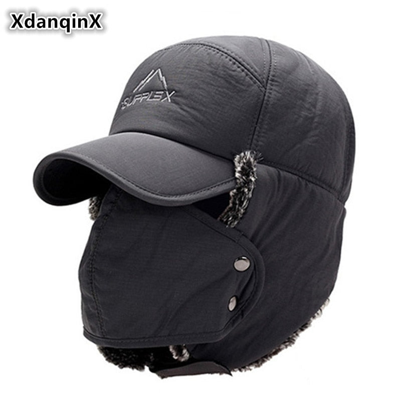 711f0663105 XdanqinX Men s Ear Protection Face Bomber Hats Thicker Plus Velvet Warm  Woman Winter Hat Resist The