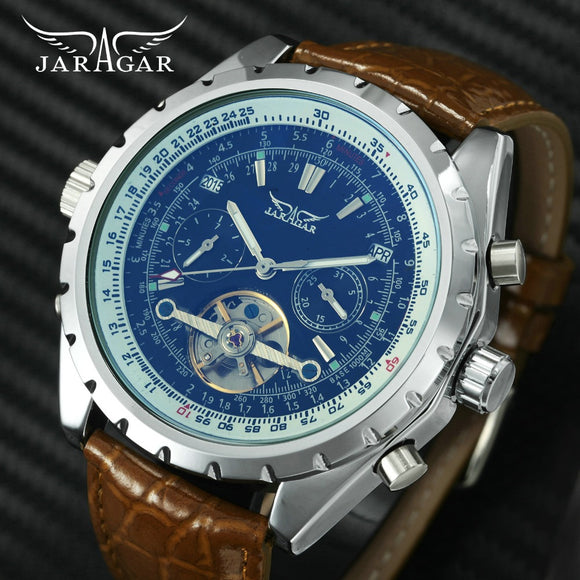 2018 JARAGAR Military Sport Watch Men Auto Mechanical Tourbillon Watches Brown Leather Strap Blue-ray Mirror Sub-dial Date Dial