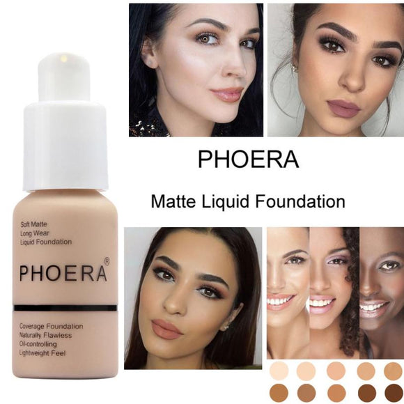 PHOERA New 30ml Matte Oil Control Concealer Liquid Foundation pallet shadows makeup pallete far paleti novo sombras Skin care-Makeup-Zodeys-A-Zodeys