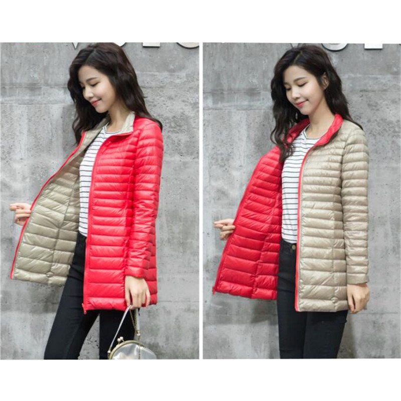 274f15bbc1d Sanishroly Double Coat Women White Duck Down Coats Slim Ultra Light Down  Jacket Female Midi Long