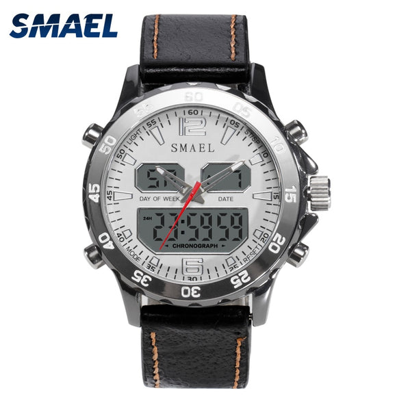 SMAEL Sport Watches Waterproof Genuine Dual Display Quartz WristwatchesCool Man Clock Fashion Smart Digital Watch LED Men 1281