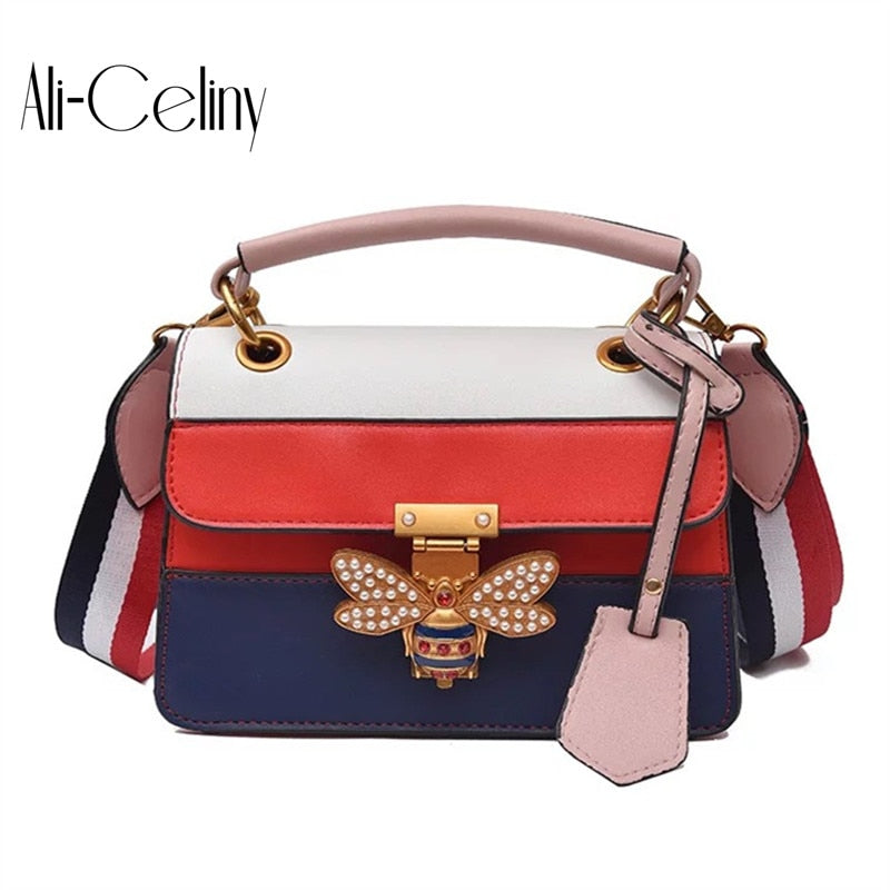 fcb259b764c7 2018 Luxury Crossbody bag Women Colorful splicing Little Bee Bags GG Design Handbag  Female Shoulder Bags