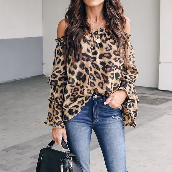 Feitong Women Casual Off Shoulder Tops Ladies Sexy Leopard Printed  Long Sleeve Blouse Shirt Tops blusas mujer de moda 2018 New