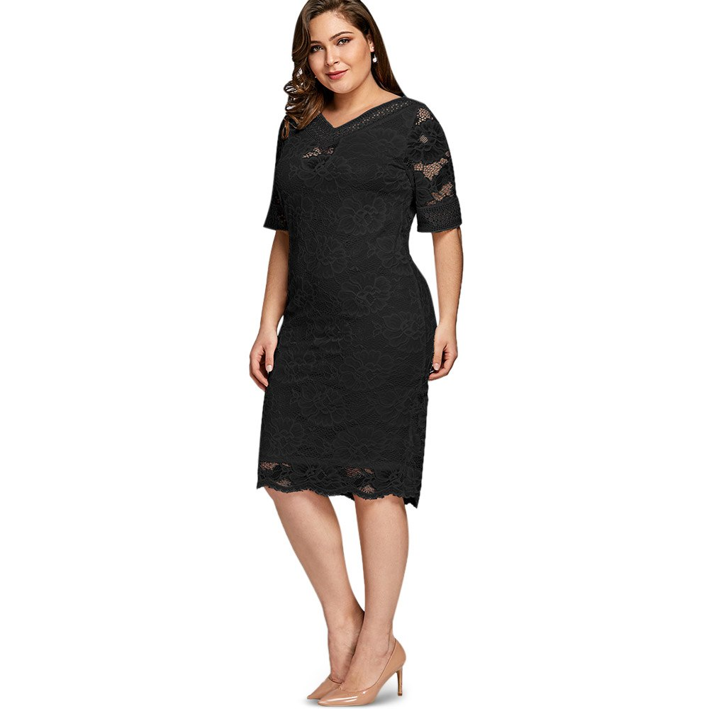 ... Gamiss Plus Size V Neck Half Sleeve Lace Dress Bodycon 2018 Women  Fashion Sexy Office Club ... e615d086200a