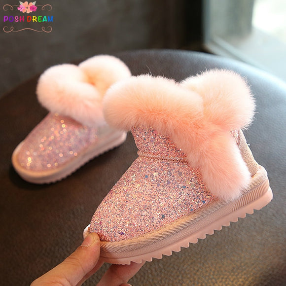 POSH DREAM Winter Infant Baby Girls Boots Shoes Real Leather Rabbit Princess Cotton Boots Thickened Warm Baby Girl Shoes Winter