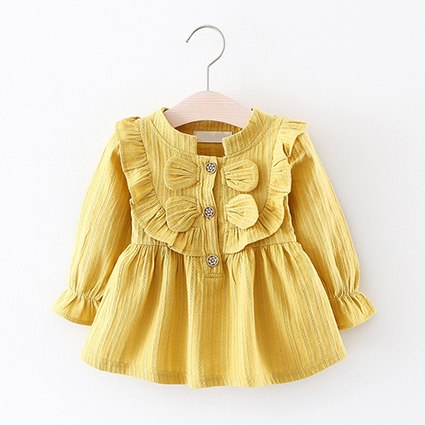 d9d76ff4a70b Baby Girls Dress Draped Button Ruffles Long Sleeve Cotton Dresses for  Newbron Baby Party Princess Dress Baby Clothing