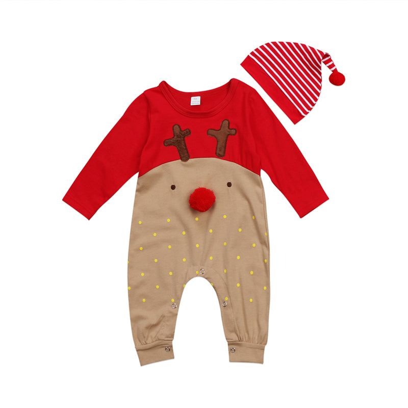 9996d5ad2e8 Emmababy New born Baby Boy Girl deer cartoon Christmas Rompers bebe kids  cotton cute Clothes Romper