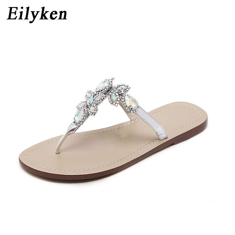 a919eaa36d1c90 Eilyken 2018 New Leisure Woman Sandals Slippers Shoes Rhine stones Crystal  Chains Gladiator Flat Sandals Plus