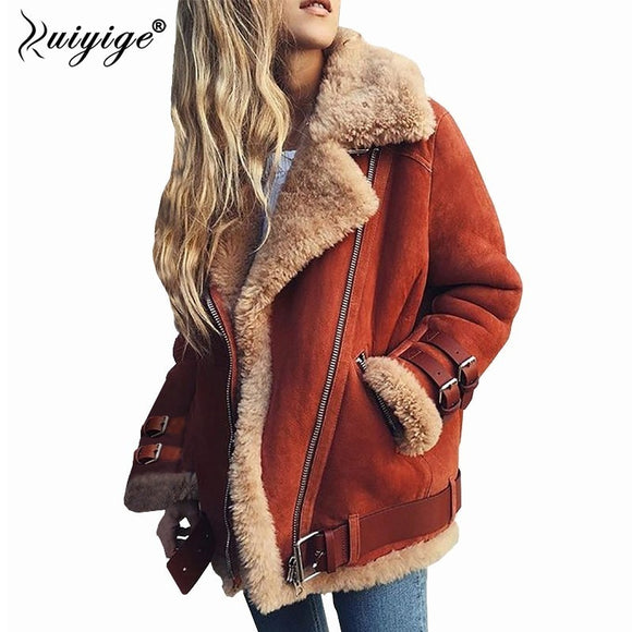 Ruiyige 2018 Winter Jacket Women Suede Lamb Wool Warm Coat Belt Turn Down Collar Lady Outwear Zipper Moto Overcoat Plus Size 5XL